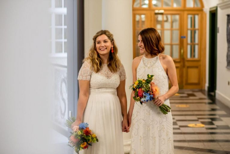 two brides before they get married